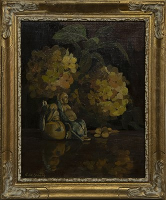 Lot 51 - STILL LIFE WITH FIGURINES, AN OIL BY ROBERT WILLIAM BROWN