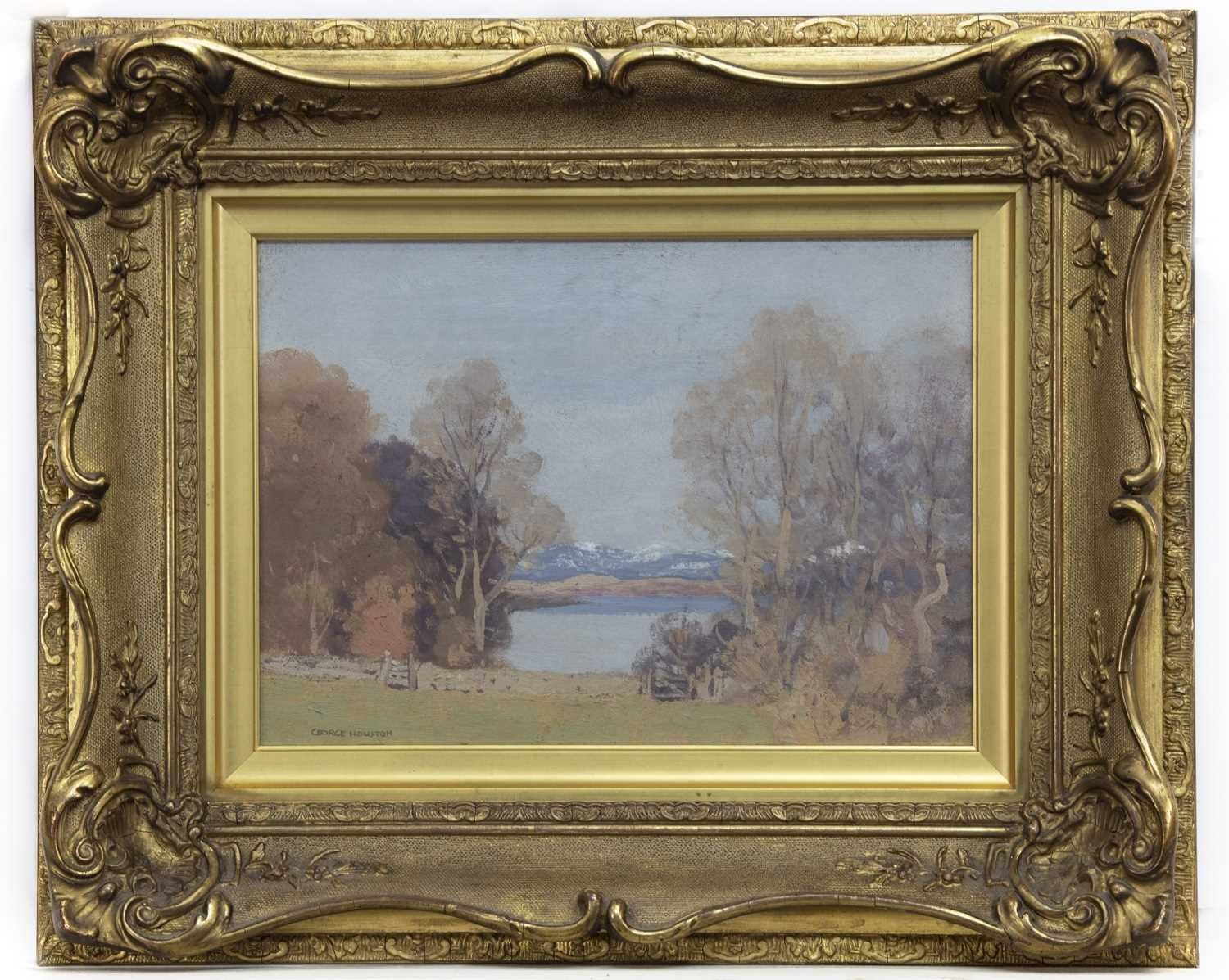 Lot 2003 - LOCH SCENE WITH DISTANT SNOW, BY GEORGE HOUSTON
