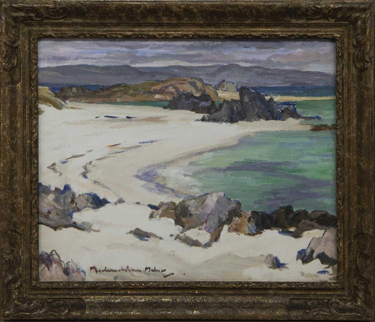 Lot 2005 - THE GREEN POOL, IONA, AN OIL BY JOHN MACLAUCHLAN MILNE