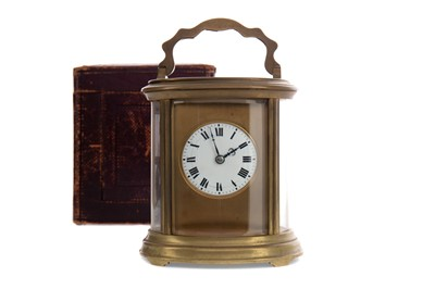 Lot 1106 - A LATE 19TH CENTURY BRASS CARRIAGE CLOCK