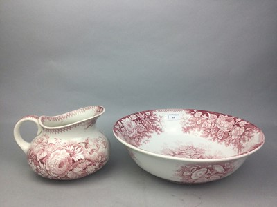 Lot 64 - A VICTORIAN WASH BASIN AND EWER