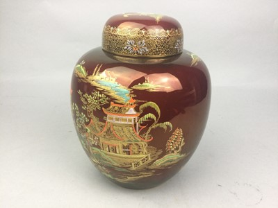 Lot 61 - A CARLTON WARE GINGER JAR AND COVER, ALONG WITH OTHER CERAMICS INCLUDING A PART COFFEE SET