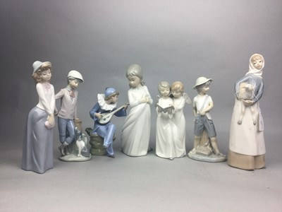 Lot 37 - A LLADRO FIGURE OF A GIRL WITH A LAMB AND FIVE OTHER FIGURES