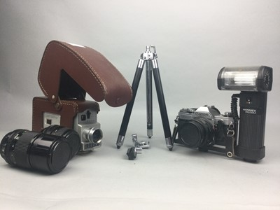 Lot 65 - A LOT OF TWO CAMERAS, TWO LENSES AND A TRIPOD STAND
