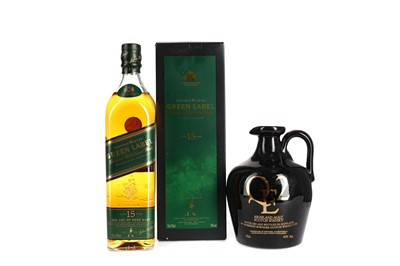 Lot 161 - JOHNNIE WALKER GREEN LABEL AGED 15 YEARS AND QE2 DECANTER