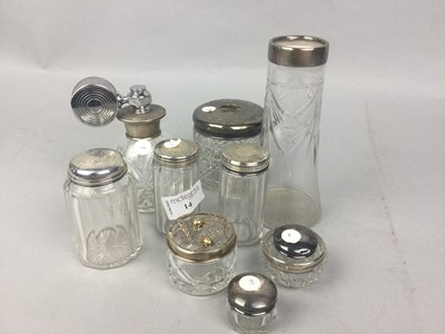 Lot 14 - A LOT OF SILVER TOPPED DRESSING TABLE ACCESSORIES