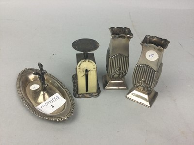 Lot 3 - A SET OF SILVER MINIATURE POSTAL SCALES AND OTHER ITEMS