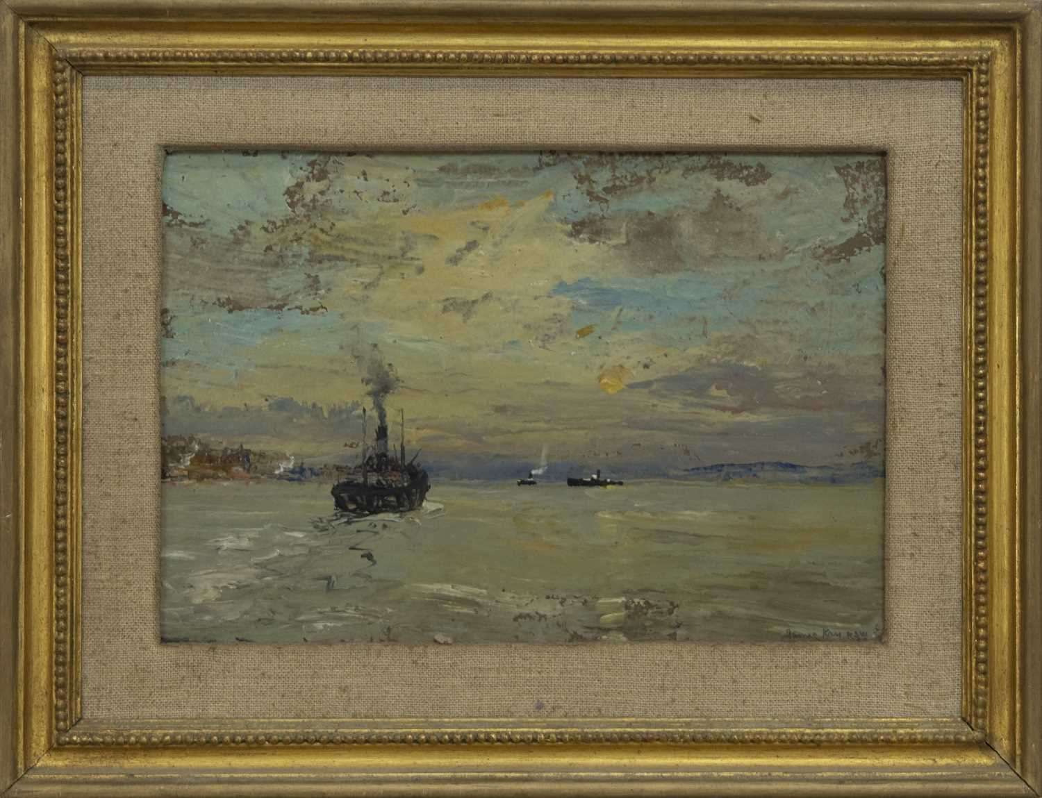 Lot 2004 - INTO THE WEST, RIVER CLYDE, AN OIL BY JAMES KAY