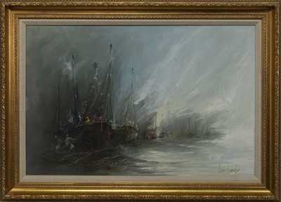 Lot 501 - THE ENCROACHING TIDE, AN OIL BY BEN MAILE