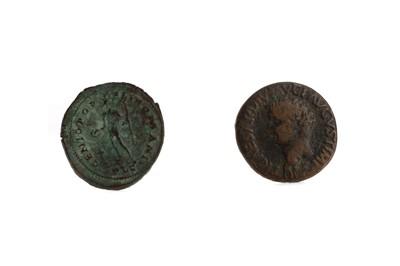 Lot 59 - A CONSTANTINE 1 (AD 307 - 337) BRONZE FOLLIS, ALONG WITH A CEASAR AUGUSTUS BRONZE COIN
