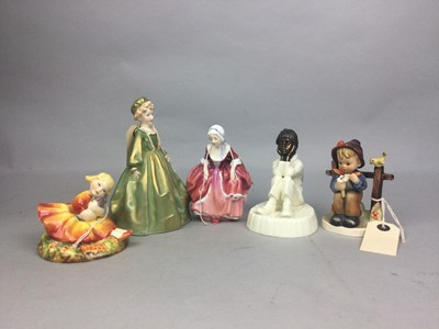 Lot 47 - A ROYAL DOULTON FIGURE OF GOODY TWO SHOES AND TWO OTHER FIGURES