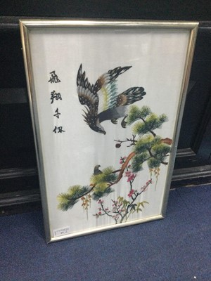 Lot 15 - A LOT OF TWO CHINESE EMBROIDERIES ON SILK