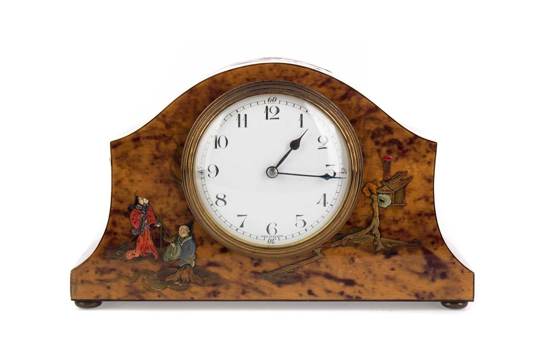 Lot 1182 - AN EARLY 20TH CENTURY SIMULATED TORTOISESHELL MANTEL CLOCK