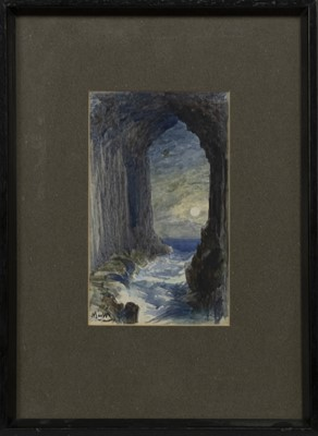 Lot 49 - FINGAL'S CAVE BY MOONLIGHT, A WATERCOLOUR BY JAMES MACWHIRTER