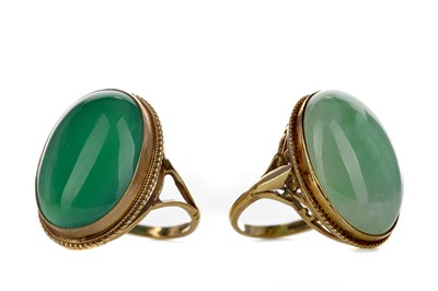 Lot 1352 - TWO GREEN HARDSTONE RINGS