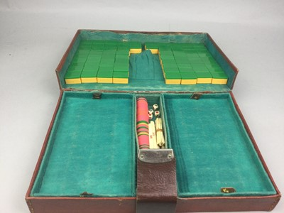 Lot 27 - A MID-20TH CENTURY MAH JONG SET, ALONG WITH OTHER CHINESE ITEMS