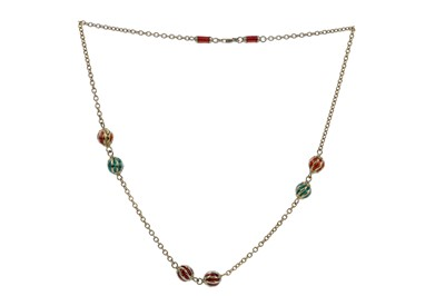 Lot 1390 - AN ENAMELLED BALL NECKLACE