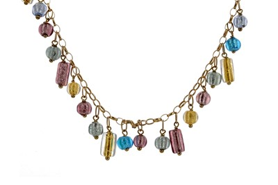 Lot 1392 - A COLOURED GLASS BEAD NECKLACE