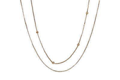 Lot 1394 - TWO GOLD CHAINS
