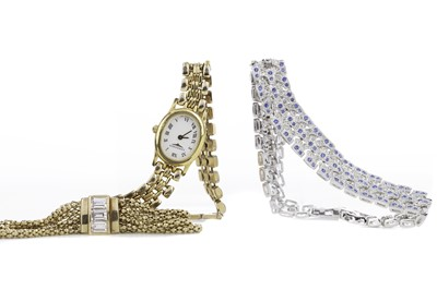 Lot 732 - A LADY'S  LONGINES GOLD PLATED QUARTZ WATCH, SILVER BRACELET AND ONE OTHER