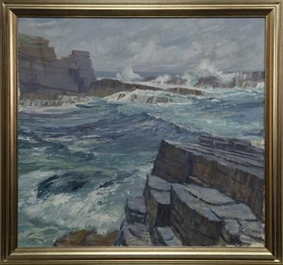 Lot 517 - CLIFFS & SEA, ORKNEY, AN OIL BY IAN MACINNES