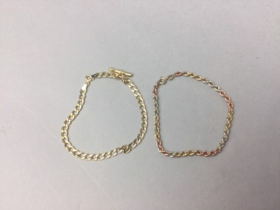 Lot 74 - A LOT OF TWO NINE CARAT GOLD CHAIN BRACELETS