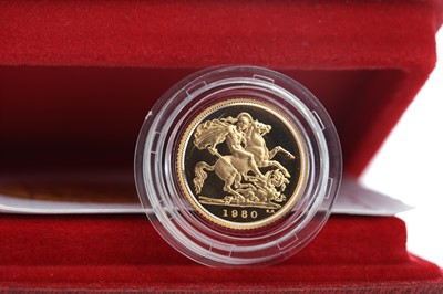 Lot 71 - A GOLD PROOF HALF SOVEREIGN DATED 1980