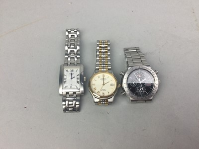 Lot 81 - A GENTLEMAN'S SEIKO QUARTZ CHRONOGRAPH WRIST WATCH AND TWO OTHERS