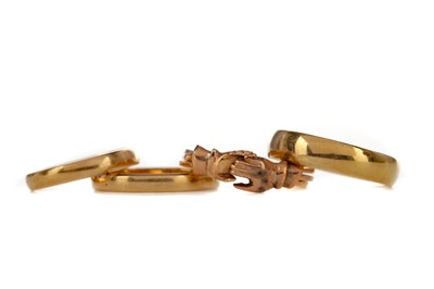 Lot 1367 - THREE GOLD WEDDING BANDS AND A POSY RING