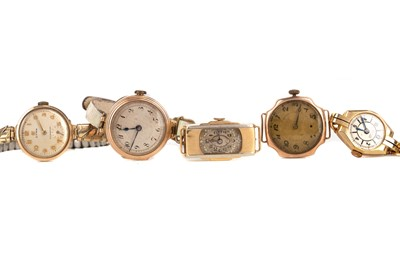 Lot 711 - FIVE GOLD CASED LADY'S MANUAL WIND WRIST WATCHES