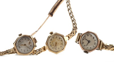 Lot 713 - THREE LADY'S GOLD CASED MANUAL WIND WRIST WATCHES