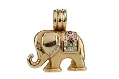 Lot 1383 - A DIAMOND AND GEM SET ELEPHANT PENDANT