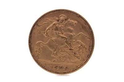 Lot 8 - AN EDWARD VII GOLD HALF SOVEREIGN DATED 1906