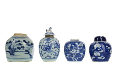 Lot 922 - A GROUP OF FOUR CHINESE BLUE AND WHITE GINGER JARS