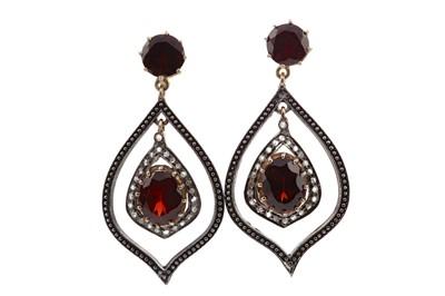 Lot 1387 - A PAIR OF GARNET AND DIAMOND EARRINGS