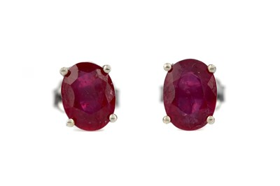 Lot 858 - A PAIR OF TREATED RUBY EARRINGS