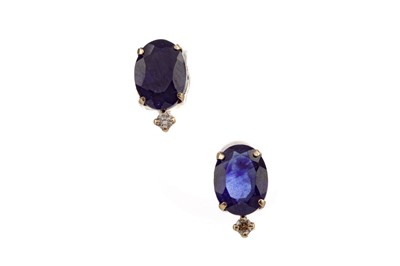 Lot 865 - A PAIR OF TREATED SAPPHIRE AND DIAMOND EARRINGS