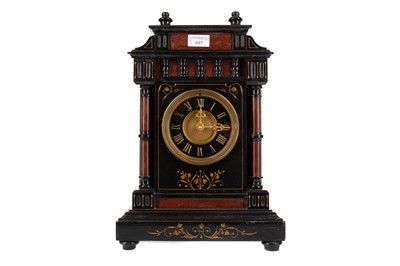 Lot 1117 - AN UNUSUAL VICTORIAN BLACK SLATE AND ROUGE MARBLE MANTEL CLOCK
