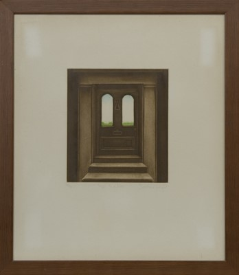 Lot 633 - STEPS TO A DOOR, A MEZZOTINT BY DOROTHEA WIGHT