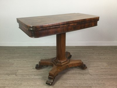 Lot 1694 - A VICTORIAN ROSEWOOD TURNOVER CARD TABLE