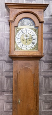 Lot 1108 - A MID-18TH CENTURY AND LATER OAK AND WALNUT LONGCASE CLOCK