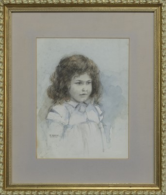 Lot 59 - STUDY OF A YOUNG GIRL, A WATERCOLOUR BY ROBERT EADIE