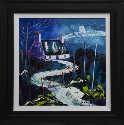 Lot 578 - MOONLIT NIGHT AT THE CROFT, ARGYLL, AN OIL BY JOHN DAMARI