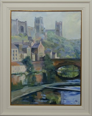 Lot 524 - DURHAM CATHEDRAL AND CASTLE FROM FRAMWELLGATE BRIDGE, AN OIL BY HELEN MCDONALD MATHIE