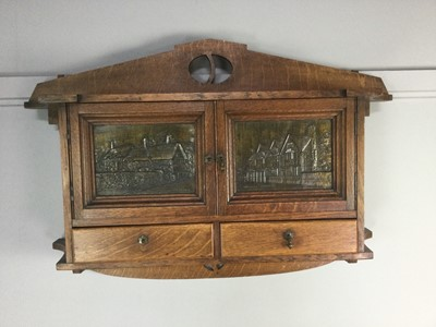Lot 1700 - A SCOTTISH ARTS & CRAFTS OAK WALL CABINET