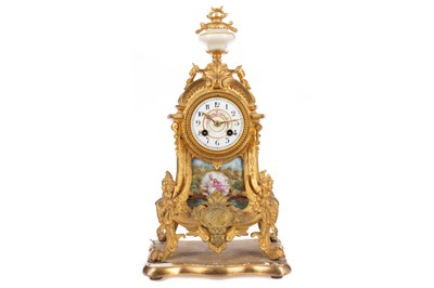 Lot 1118 - A LATE 19TH CENTURY FRENCH GILTMETAL AND PORCELAIN MANTEL CLOCK