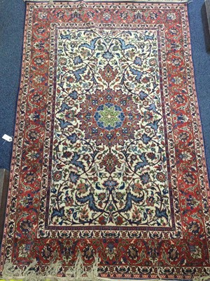 Lot 937 - A BORDERED RUG OF ISFAHAN DESIGN
