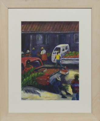 Lot 555 - MARKET DAY, ST JOHNS, AN OIL BY PAT CROMBIE
