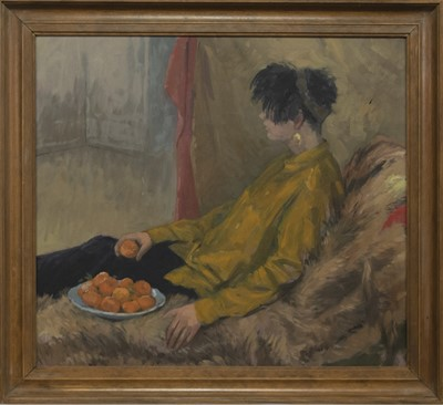 Lot 552 - GIRL AND SATSUMAS, AN OIL BY ANTHONY BAYNES