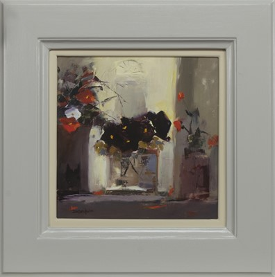 Lot 530 - PANSIES WITH GLASS VASE, AN OIL BY MARY DAVIDSON
